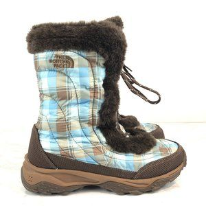 North Face Blue Plaid Goose Down Quilted Boots